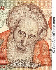Joaquin Torres Garcia (1874-1949) on 5 Pesos Uruguayos 1998...