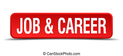 job and career red 3d square button isolated on white