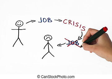 Job and crisis conception illustration over white