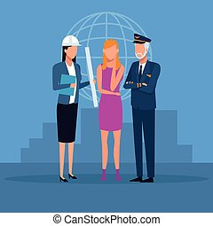 Job and workers - Pilot and architect with woman over...