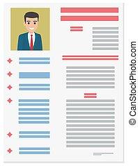 Job Application Form of Businessman. Brief Resume - Resume...