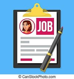 Job Application Form Vector. Female Profile Photo. HR Human Resources Concept. Office Paperwork. Clipboard. Pen. Hiring Employees. Flat Cartoon Illustration