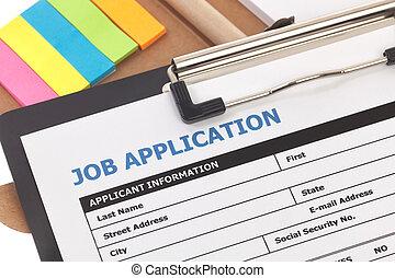 Job application form on sticky note