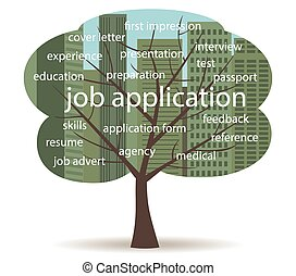 job application tree - tree with cityscape background and ...