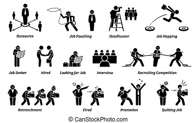 Job career and employment icons set.