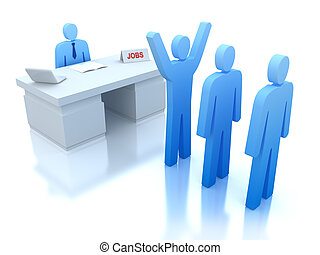 Job Centre : employers testing for employees . 3D concept