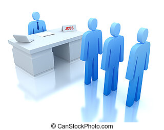 Job Centre : employers testing for employees . 3D concept .
