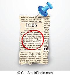 illustration of job classified in newspaper