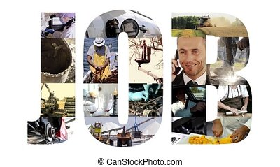 job collage on white