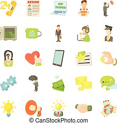 Job contract icons set, cartoon style