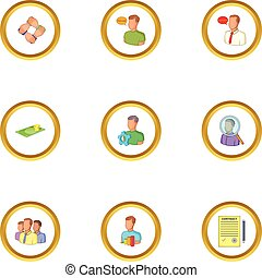 Job contract icons set, cartoon style