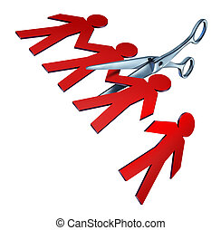 Job cuts and downsizing with unemployment and losses for better business efficiency with broken teamwork firings due to the bad economy to reduce the budget of a company as a pair of scissors cutting a paper worker cut out in the shape of people icons on white.