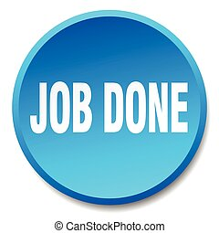 job done blue round flat isolated push button