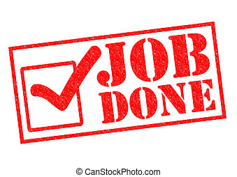 JOB DONE red Rubber Stamp over a white background.