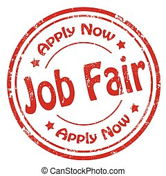 Job Fair-stamp - Grunge rubber stamp with text Job Fair, ...