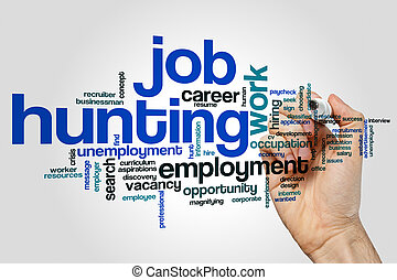 Job hunting word cloud concept on grey background