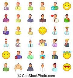 Job icons set, cartoon style - Job icons set. Cartoon style...