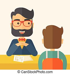 Job interview - A smiling Caucasian human resource manager ...
