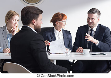 Job interview can be funny - Handsome businessman joking ...