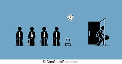 Job interview candidates waiting outside the room and a candidate walking through the door.
