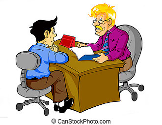 Job Interview - Cartoon illustration of a man being...
