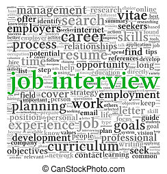 Job interview concept in word tag cloud - Job interview...