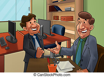 job interview - executive talking to a worker candidate