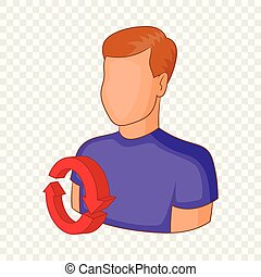 Job interview icon, cartoon style