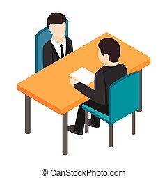 Job interview icon, isometric 3d style