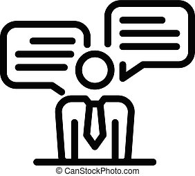 Job interview icon, outline style