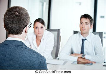 Job interview - Two business people having job interview...