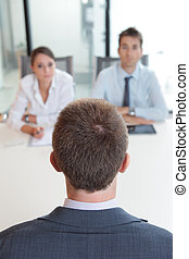 Job interview - Two business people having job interview ...