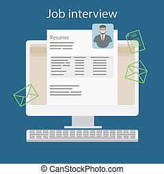 Job interview with resume on computer