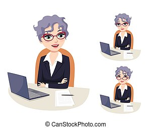 Friendly businesswoman with grey hair and glasses sitting in her office with computer and document files. Professional career powerful woman in Politics. Politician, senator, congresswoman. Isolated vector illustration. Facial expressions