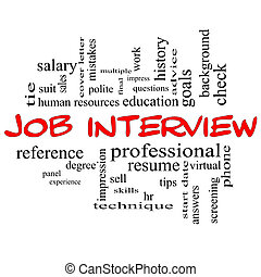 Job Interview Word Cloud Concept in Red Caps with great...