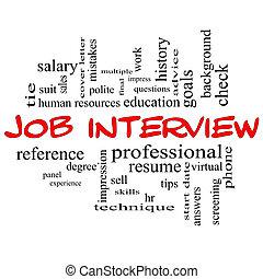 Job Interview Word Cloud Concept in Red Caps