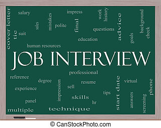 Job Interview Word Cloud Concept on a Blackboard