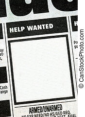 Job search  loupe with jobs classified ad newspapers