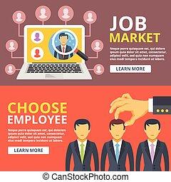Job market, choose employee concept