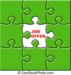 Job Offer - 3d puzzle with missing piece for job