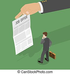 Job offer flat isometric vector concept.