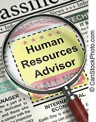 Job Opening Human Resources Advisor. 3D.