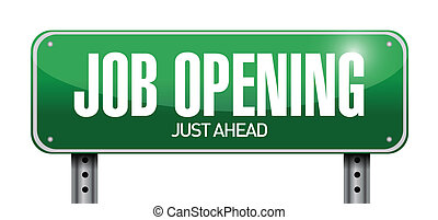 job opening road sign illustration design over a white...