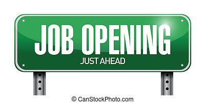 job opening road sign illustration design over a white...