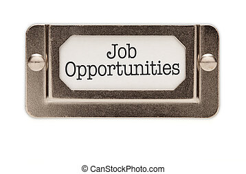 Job Opportunities File Drawer Label Isolated on a White Background.