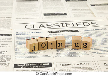 job opportunities - join us word on wood stamps stacking on...