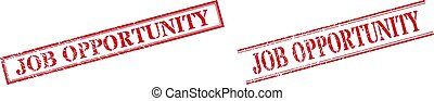 JOB OPPORTUNITY Grunge Rubber Stamp Watermarks with Double Rectangle Frame