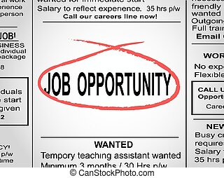 Job Opportunity Newspaper - Newspaper clipping with job ...