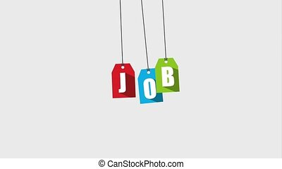 job people related - job word hanging colored cards...