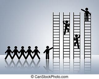 job promotion - paper chain figures business man climbing...